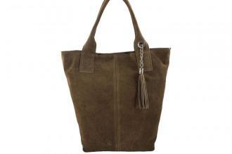 Shopper bag - torebka damska zamszowa - Beżowa ciemna