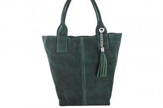 Shopper bag - torebka damska zamszowa - Zielona ciemna