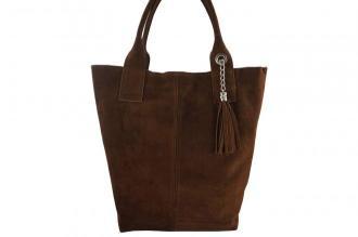 Shopper bag - torebka damska zamszowa - Brązowa