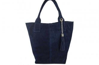 Shopper bag - torebka damska zamszowa - Granatowa