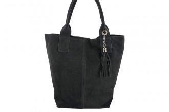 Shopper bag  torebka damska zamszowa - Szara ciemna