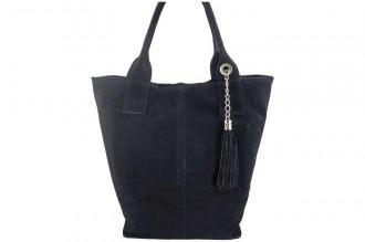 Shopper bag - torebka damska zamszowa - Czarna