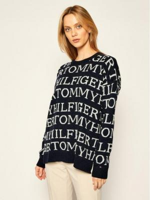 Tommy Hilfiger Sweter Graphic All Over WW0WW28859 Granatowy Relaxed Fit