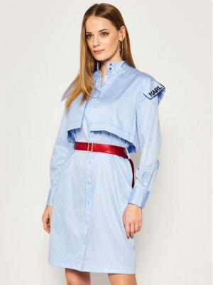 KARL LAGERFELD Sukienka koszulowa Stripe Poplin 201W1302 Niebieski Regular Fit