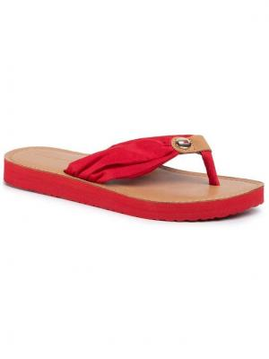 TOMMY HILFIGER Japonki Leather Footbed Beach Sandal FW0FW00475 Czerwony