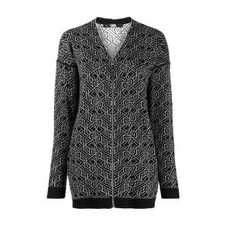 Geometric print zip-up jumper