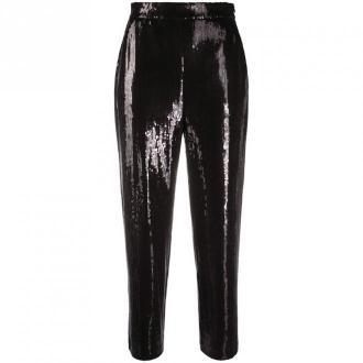 Karl Lagerfeld Cekinowe spodnie capri Spodnie Czarny Dorośli Kobiety
