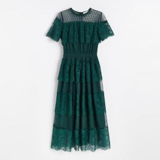 Reserved - Koronkowa sukienka midi - Turkusowy