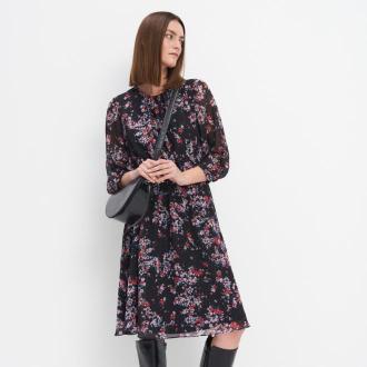 Mohito - Szyfonowa sukienka w kwiaty - Czarny
