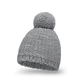 Jasnoszara, ciepła czapka damska z wełną