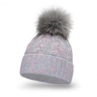Modna czapka damska z pomponem