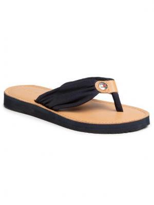 TOMMY HILFIGER Japonki Leather Footbed Beach Sandal FW0FW00475 Granatowy