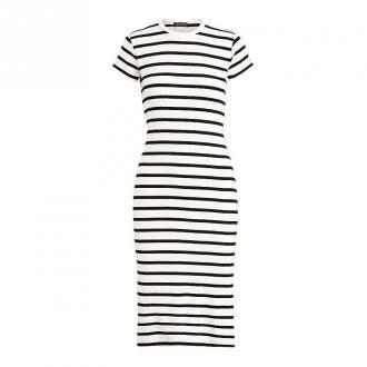 Ralph Lauren Paski Bawełniana Sukienka Sukienki Biały Dorośli Kobiety