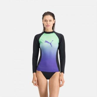 PUMA Swim Gradient Z Długim Rękawem Damski Rashguard, Zielony, rozmiar XS, Odzież