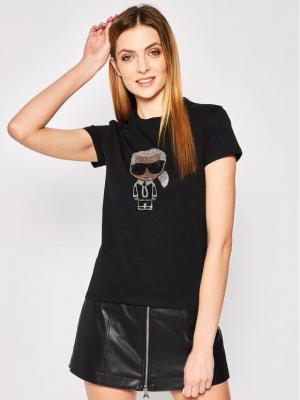 KARL LAGERFELD T-Shirt Ikonik Rhinestone Karl 201W1700 Czarny Regular Fit
