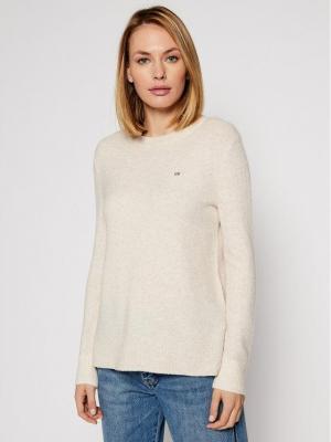 Calvin Klein Sweter Ls Fluffy Crew Neck K20K202251 Beżowy Regular Fit