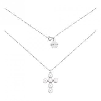 Srebrny naszyjnik z krzyżem zdobionym perłami
