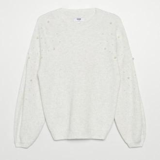 Cropp - Sweter z ozdobną aplikacją - Jasny szary