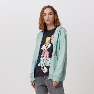 Cropp - Rozpinana bluza z kapturem - Zielony