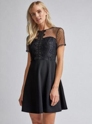 Czarna sukienka z koronką Dorothy Perkins - XL