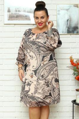 Sukienka trapezowa szyfonowa MARIOLA beżowa w brązowe orientalne wzory
