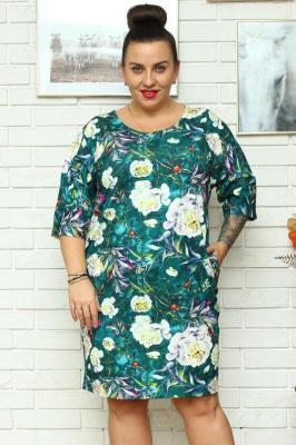 Sukienka tuba dzianinowa dres ANISA butelkowa zieleń w kwiaty i liście