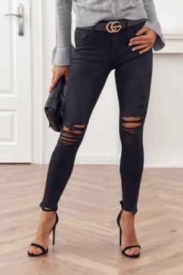 Spodnie jeansowe z dziurami na kolanach czarne 02516