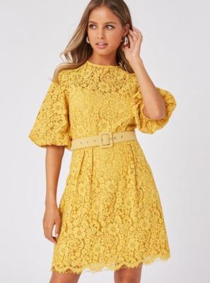 Żółta koronkowa sukienka Little Mistress - S
