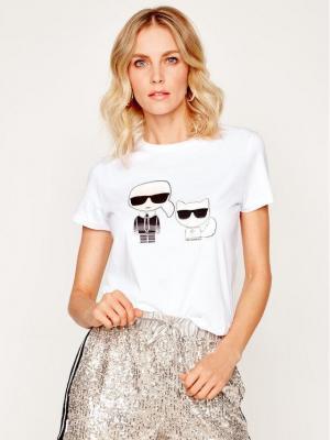 KARL LAGERFELD T-Shirt Ikonik Karl & Choupette 201W1705 Biały Regular Fit