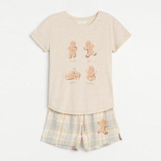 Reserved - Dwuczęściowa piżama ze świątecznym motywem - Beżowy