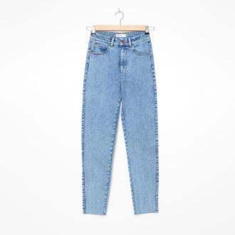 House - Mom jeans z postrzępioną nogawką - Niebieski