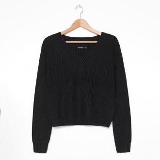 House - Sweter z dekoltem V - Czarny