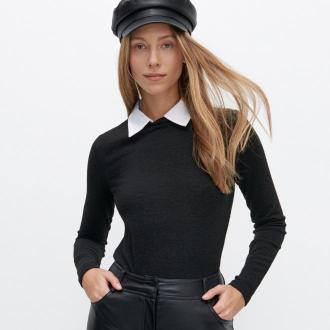 Reserved - Bluzka z kołnierzykiem - Czarny