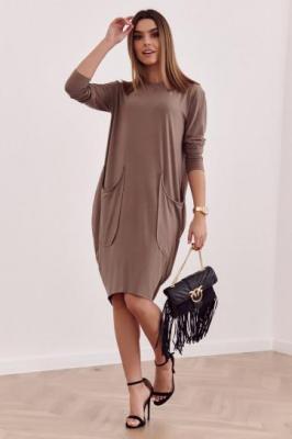 Asymetryczna sukienka oversize cappuccino FG557