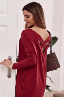 Sukienka oversize skrzyżowana na plecach bordowa FG554