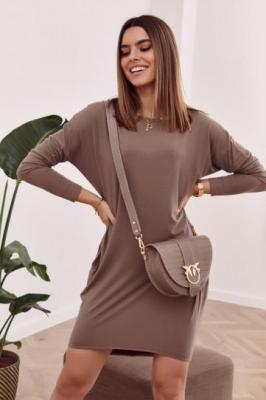 Sukienka oversize skrzyżowana na plecach cappuccino FG554