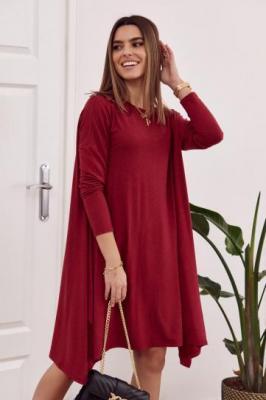 Sukienka oversize z wiązaniem z tyłu bordowa FG558