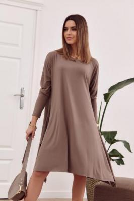 Sukienka oversize z wiązaniem z tyłu cappuccino FG558