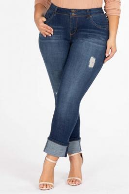 GERRY NAVY jeansy plus size z mankietem i dziurami : size - 52/54