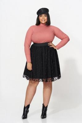 BETTA BLACK elegancka spódnica plus size z tiulem : size - 56/58