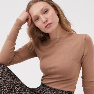 Sinsay - Wiskozowy sweter z ozdobnym rękawem - Beżowy