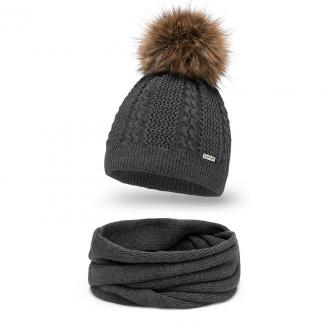Stylowy komplet damski czapka z pomponem i komin