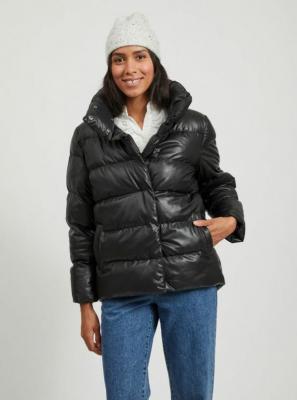 Czarna zimowa pikowana kurtka VILA - S