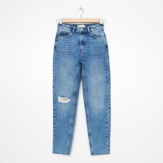 House - Mom jeans z przetarciami - Niebieski