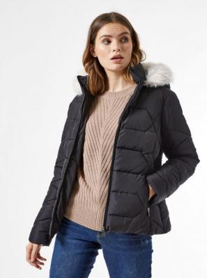 Czarna zimowa pikowana kurtka Dorothy Perkins - XS
