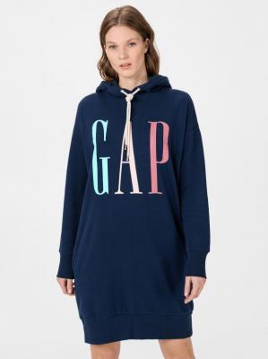 GAP niebieska luźna sukienka z logiem - XXS