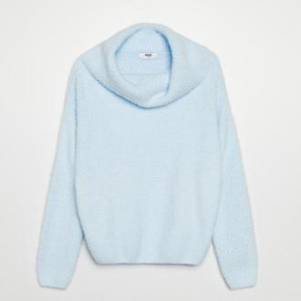 Cropp - Puszysty sweter z golfem - Niebieski