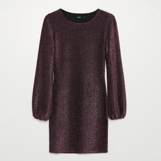 Cropp - Błyszcząca sukienka z bufiastymi rękawami - Różowy