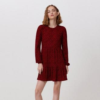 Cropp - Dzianinowa sukienka z falbaną - Czerwony