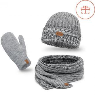 Zimowy komplet damski czapka, szalik, rękawiczki